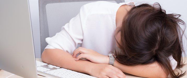 Woman take a nap at office